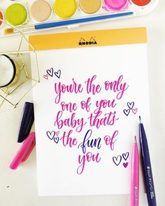 Love it or hate it - you'll probably be hearing a lot of this song the next few months. 😏 Even though this song is just supposed to be fun & lighthearted - you really are the only one of you and Best Brush Pens, Hate, Letters, Touch, Songs, This Or That Questions, My Favorite Things, Tips, Advice