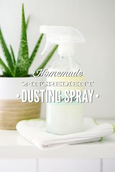 A super simple homemade dusting spray made with just two ingredients. This stuff helps wipe away the dust without the nasty ingredients.