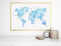 Light blue printable world map in watercolor style, large 36x24\