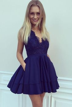 short homecoming dresses, chic navy blue party dresses, cheap a-line fashion summer dresses