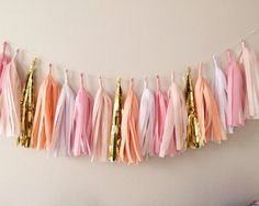 Pinks, Peach and Gold Tassel Garland - Valentines Day, Party Decor, Birthday Party, Weddings, Nursery, Baby Shower, & Photo Props