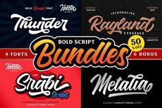 Bold Script Bundle #bold #script #boldscript #bundle #boldscriptbundle #logo #logotype #awesome #packaging #branding