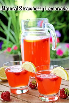 This Strawberry Lemonade is delicious, refreshing, and satisfying. It's made out of the best ingredients possible; freshly squeezed organic lemon juice and homegrown strawberries, which makes it taste incredible! #naturalstrawberrylemonade #organicingredients #natural #valyastasteofhome | www.valyastasteofhome.com Yummy Eats, Yummy Food, Cucumber Bites, Baked Strawberries, Strawberry Lemonade, Taste Of Home, Recipe Today, Cupcake Recipes, Drink Recipes
