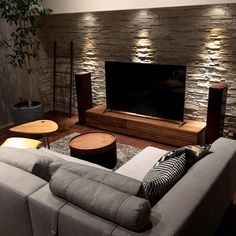 Living Room Designs Interior Design Ideas after Interior Design Ideas For Kitchen And Living Room Interior Walls, Living Room Interior, Home Living Room, Living Room Decor, Stone Wall Living Room, Modern Small Living Room, Masculine Living Rooms, Small Media Rooms, Kitchen Interior