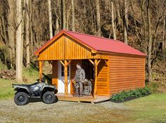 Built with genuine Western Red Cedar, this heavy duty cabin shell will look great on your lake property or deer lease. The Texas Star door and 3x4 insulated windows complement the luxurious feel of this cabin shell. Add the peeled cedar porch rails to the standard porch package to complete the elegant, yet rustic look. #leantoshed #gardensheds #storageshedkits