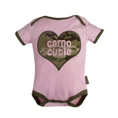 Our Trooper Multicam/OCP Camo Cutie Bodysuit is made of Premium Multicam®/OCP fabric. Cute applique heart on the front and on the bottom in the back.
