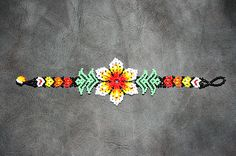 Native American Bracelet Huichol Bracelet by BiuluArtisanBoutique Seed Bead Patterns, Beaded Bracelet Patterns, Beading Patterns, Beaded Bracelets, Native Beadwork, Native American Beadwork, Bead Jewellery, Beaded Jewelry, Bracelet Crafts