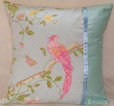 Olliebollieboo Designs, Laura Ashley, shabby chic, handmade, cushion cover, cushions, Summer palace, Duck Egg, Ribbon, Blue, Bird, gift
