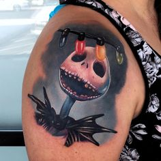 Pretty color tattoo of Jack Skellington from Nightmare before Christmas done by Audie Fulfer jr. tattoo artist in Fresno Arm Tattoos, Cute Tattoos, Body Art Tattoos, Sleeve Tattoos, Drawing Tattoos, Anchor Tattoos, Feather Tattoos, Unique Tattoos, Tatoos