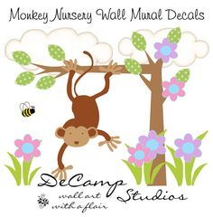 """Hanging Monkey Wall Art Mural Decal for baby girl jungle nursery or children's safari room decor. Measures 16.5"""" Tall (41.91cm) and 21.5"""" Wide (54.61cm) #decampstudios"""