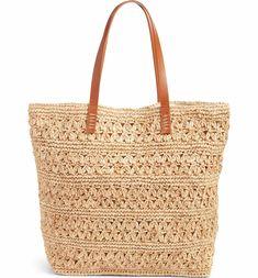 Main Image - Nordstrom Packable Raffia Crochet Tote