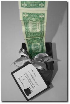 """An empty Kleenex box and dollar bills. Tape the dollar bills together end to end with Scotch tape. Obviously the more dollar bills the greater the """"WOW"""". Stuff them in the Kleenex box with just one dollar sticking out of the box. It's fun to watch someone's eyes grow wider as they pull out the dollars that go on and on. Make a tag that says: """"Don't """"blow"""" it all in one place. The End. Happy Birthday."""