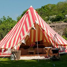 striped tent perfect for summer garden parties...