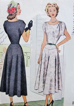 1940s Beautiful Dress Pattern McCall 7287 Draped Shoulders Flattering Yoked Skirt Day or Evening Cocktail Dress Bust 34 Easy To Sew Vintage Sewing Pattern FACTORY FOLDED