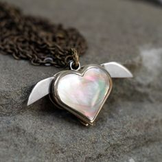Tiny Secret Heart Double Knife Necklace - Abalone at shanalogic.com