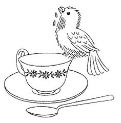 Bird on teacup -  - embroidery pattern / transfer #embroidery