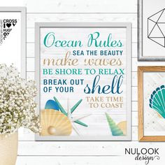 Ocean Rules, Beach Love, Beach prints, Coastal Poster, ocean, surfer, tropical poster, hamptons style print,