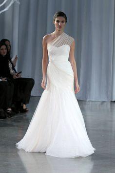 Stunning one-shoulder Monique Lhuillier wedding dress from her Fall 2013 bridal collection runway show | via junebugweddings.com