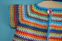 Op algemene aanvraag : het haakpatroontje van het babyvestje!!! On request : the crochet pattern of the baby-cardigan!!! (for the English version : I will write the pattern down tomorrow in a new blog post) INFO :– past een baby tot 1 jaar (rugwijdte : 27-28 cm)– Garen : aran gewicht garen. Ik haakte met …