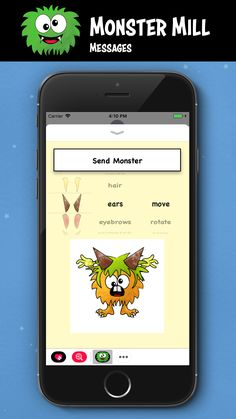 Make your own Monster with Monster Mill Messages. #iOS, #iMessages, #iPhone, #iPad, #monster, #fun, #stickers