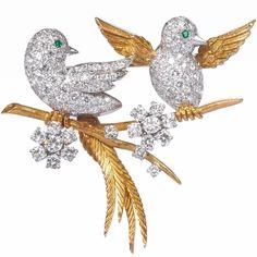 McTeigue New York Very Cute Emerald Diamond Love Birds Brooch | 1stdibs.com