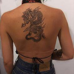 Imagem de tattoo, girl, and dragon