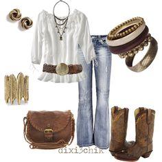 Blusa blanca... accesorios café ....