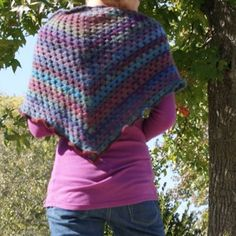 Easy Crochet Shawl Pattern; I added a scalloped edge instead of the ruffle.