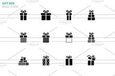 Gift box icons on white. Christmas Icons. $5.00