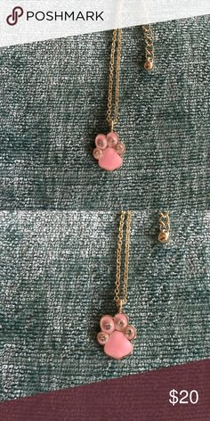 SALE 🎀Gold Plated Paw Print Necklace Brand new 18 inches long! Pink paw Print with silver rhinestones on a gold plated chain! Jewelry Necklaces