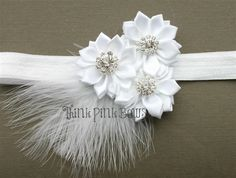 Satin Flower Trio Headband in White with Feather