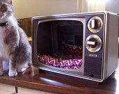 Vintage television TV cat or dog bed pets Upcycled Retro by RetrospectiveResale on Etsy, $25.00 USD