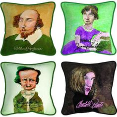 DECORATIVE LITERARY CARICATURE PILLOWS ($50) ❤ liked on Polyvore
