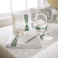 Accessories Set: This impressive collection features a tasteful ring pillow, flower girl basket, guest book and pen set. Add color to make it your own. Wedding Reception, Wedding Fun, Reception Ideas, Wedding Stuff, Wedding Ideas, Diy Your Wedding, Green Wedding, Wedding Flowers, Diy Wedding Projects