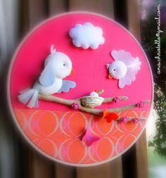 : Bastidor decoração 30cm - passarinhos