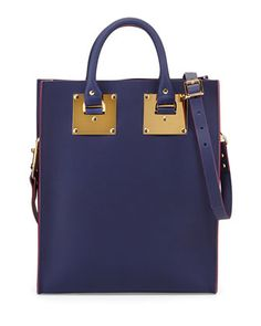 Mini+Buckled+Leather+Tote+Bag,+French+Navy+by+Sophie+Hulme+at+Neiman+Marcus.