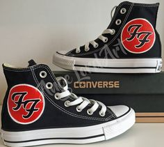 3d14d9b76e84 Custom Painted Foo Fighters Inspired Converse Hi Tops shoes sneakers In all  sizes. Advance listing for painting from September 2017