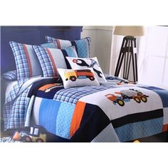 WOW - This SOLD out so quickly, but it is an adorable idea for a boys bedroom.  Under Construction Boy's Quilt by Luxury Quilt - perfect bedding choice for a small boy moving into his first big boy bed!  Adorable accent pillows available too! #boysbedding