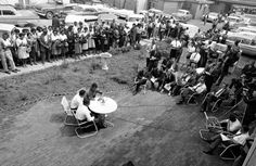 African American integration leaders announce at open air news conference in Birmingham, Ala. on April 11, 1963 that they will continue segr...