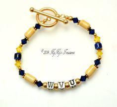 West Virginia University, WVU Jewelry, WVU Bracelet, Sport Team Jewelry, College Jewelry, Football Jewelry, West Virginia Jewelry