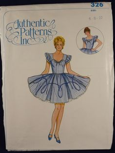 Authentic Patterns Square Dance Dress Drawstring Sweetheart Neckline Ruffled Sleeves Gored Skirt Sewing Szs 6-8-10  Uncut OOP - pinned by pin4etsy.com
