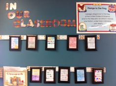 In our classroom  classroom rules  We came up with positive rules as a class.  I printed them in a large font.  I had the kids color them and put on their names, like signing a contact. I bought $1 store frames  and displayed them on the wall.