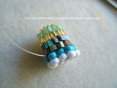 Free tutorial in brick stitch -how to make beaded bead cap - ClearlyHelena