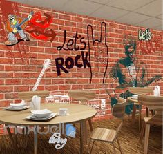 Rock Rebel Graffiti Brick Showcase Art Wall Murals Wallpaper Decals Prints Decor IDCWP-JB-000007