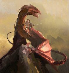 A warrior riding a dragon.- A warrior riding a dragon. Dragon Knight, Dragon Rider, Fantasy Concept Art, Fantasy Artwork, High Fantasy, Medieval Fantasy, Rpg Dice, Dragon Anatomy, Inheritance Cycle