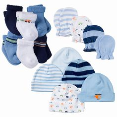 Can you ever have too many accessories for baby boy? This set includes 6 packs of socks, 5 caps, and 4 mitten sets. You'll never run low on these essentials for your little one! Baby Doll Nursery, Baby Dolls, Baby Doll Car Seat, Avent Baby Bottles, Baby Shower Gifts For Boys, Baby Gown, Baby Boy Fashion, Cute Baby Clothes, Baby Boy Newborn