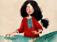 Mujer con barcos de papel