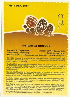 Zodiac Unlimited African astrology postcard: The Kola Nut