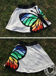 How to make that applique on the Rainbow Butterfly Skirt Sewing Kids Clothes, Sewing For Kids, Diy Clothes, Clothing Patterns, Sewing Patterns, Rainbow Butterfly, Sewing Appliques, Sewing Class, Textiles