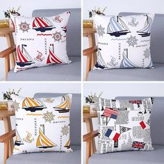 "Vintage Modern Sailboat Printed Linen Cushion Cover Pillowcase Home Decor - 18""x18"""